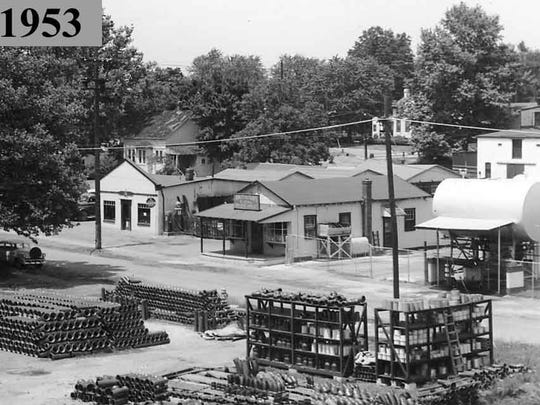 Angerstein's, with the original feed and grain store, is shown in 1953.