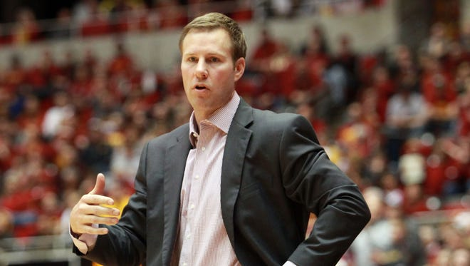 Iowa State Cyclones head coach Fred Hoiberg talks to his team during their game with the Baylor Bears at James H. Hilton Coliseum. Baylor beat Iowa State 79-70.