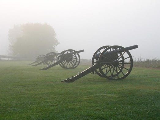 In the early morning the cannons on the field at Maryland's Antietam National Battlefield Park, site of one of the bloodiest battles in the Civil War, are sometimes shrouded in fog.