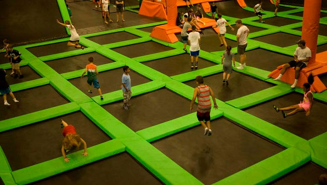 The main bounce court of a Launch Trampoline Park facility in Hartford, Connecticut.