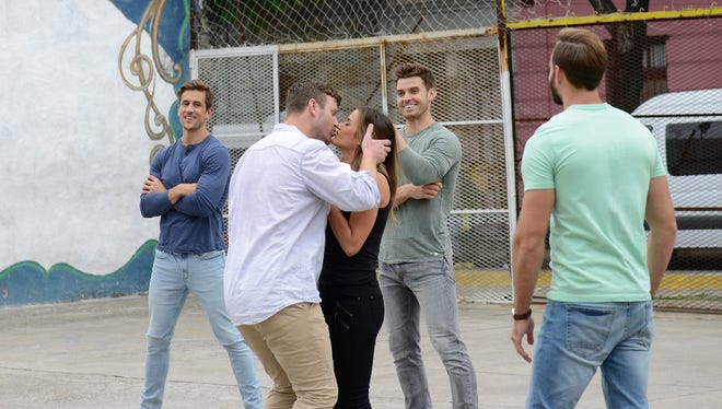 """The eight remaining men, including Jordan Rodgers, left, traveled to Buenos Aires in the latest episode of """"The Bachelorette."""""""