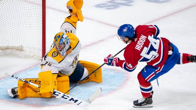 Juuse Saros had 32 saves and Filip Forsberg scored two of Nashville's four second-period goals Tuesday night as the Predators won their third straight game, defeating the host Montreal Canadiens 4-2.