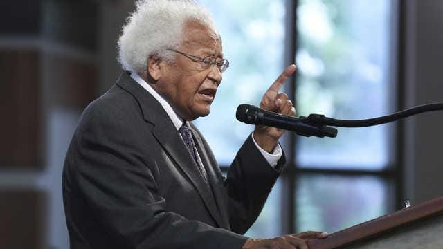 Massillon native The Rev. James Lawson speaks Thursday at the funeral for the late civil rights leader U.S. Rep. John Lewis at the Ebeneezer Baptist Church in Atlanta.