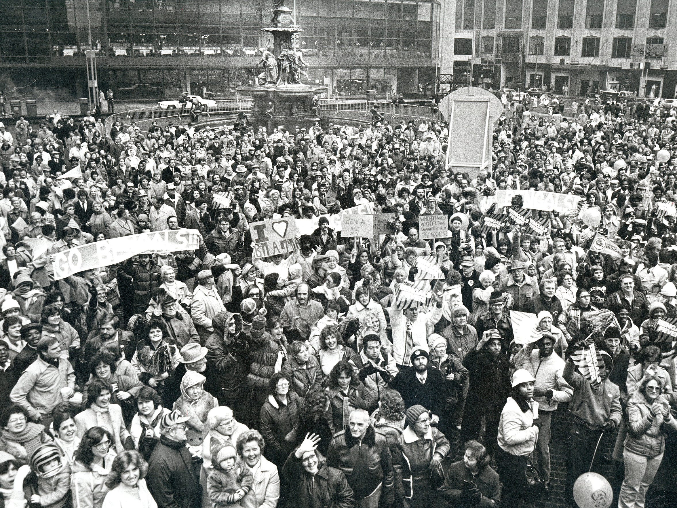 Bengals fans greet the players in Fountain Square after the team's Super Bowl loss in 1982. Even though the 49ers defeated the Bengals, The Enquirer reported that the Who Dey chant was repeated during the rally.
