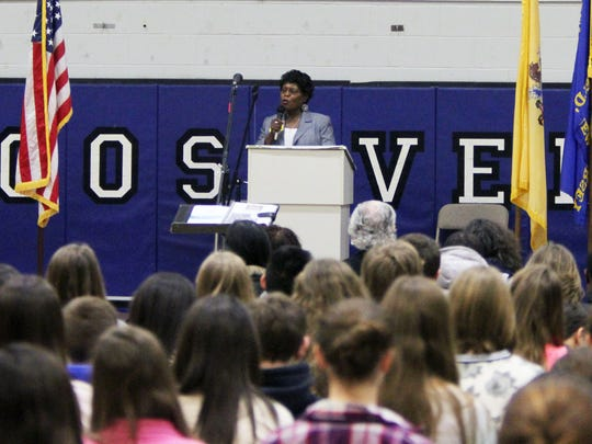 Sarah Collins Rudolph, a survivor of the 1963 Birmingham Church bombing who will be the Black History Monday featured speaker for students at Roosevelt Intermediate School in Westfield. Rudolph speaks of her life during the event at the school. On Friday January 30 ,2015 Photo: Mark R. Sullivan/Staff Photographer