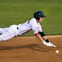 James Berersford goes head-first into third base after a triple during a game against Scranton/Wilkes-Barre. The second baseman was elected by fans, managers and media to play in the Triple-A All-Star Game.
