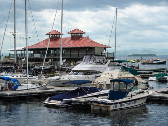 Boats fill slips near the Boat House in Burlington