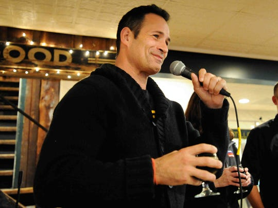 Sam Calagione speaks at the Dogfish Head unveiling of its beer for breakfast on Dec. 5, made from Rapa Scrapple.