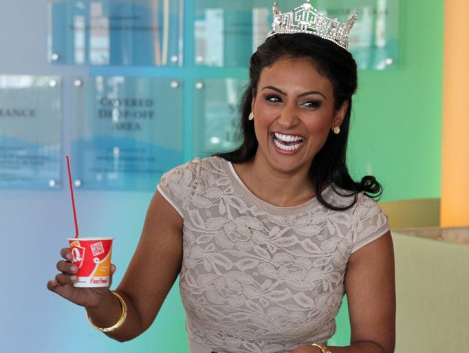 Miss America 2014 Nina Davuluri was on hand to visit patients at PSE&G Childrenâ??s Specialized Hospital in New Brunswick and to hand out free Dairy Queen Blizzards to promote Dairy Queen®â??s Annual Miracle Treat Day, Thursday, August 14.   Since 1989, Miss America titleholders have supported Childrenâ??s Miracle Network Hospitals, helping with fundraising and visiting hospitalized children   On Thursday August 14,2014 Photo: Mark R. Sullivan/Staff Photographer