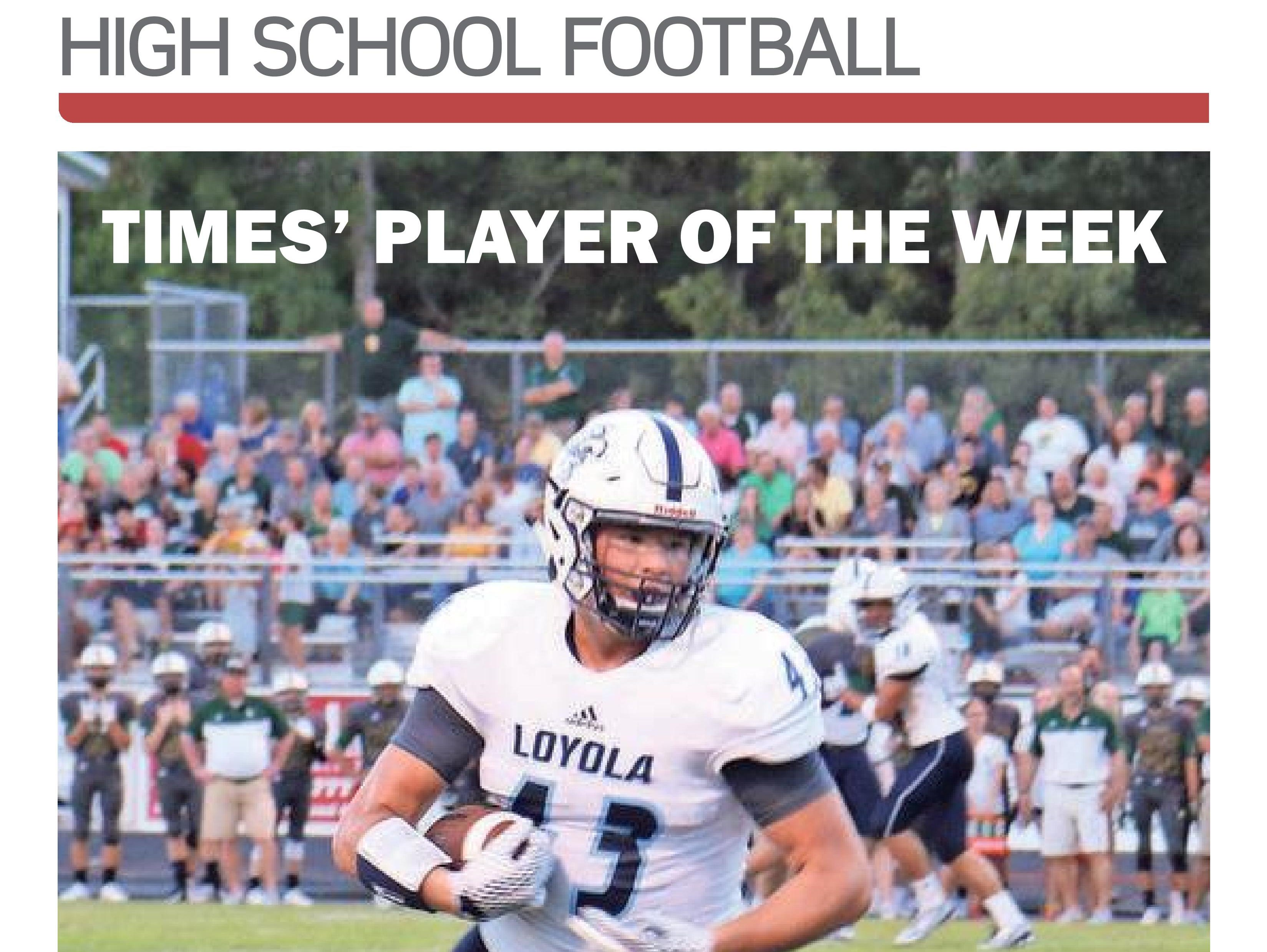 Loyola running back Ethan Stansell was voted the Player of the Week for Week 1.