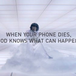 Mophie, which makes battery-charging cases for smartphones, uses images of the apocalypse in its Super Bowl ad.