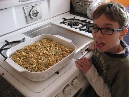 Sawyer doesn't exactly like green bean casserole, but it's a holiday tradition.