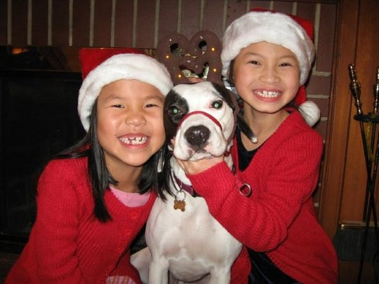 Ella (left) and Julianna Lavey posed for this Christmas card photo with the family pet, Spike, in 2009.