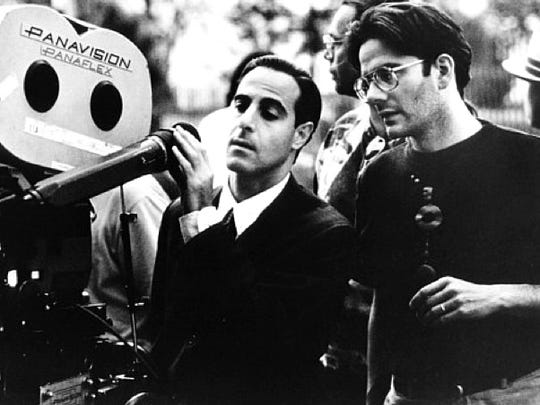 "Actor/producer Campbell Scott, right, works with co-director Stanley Tucci on the set of their movie, ""Big Night."" Scott will take part in the Doorr Kinetic Arts Festival."
