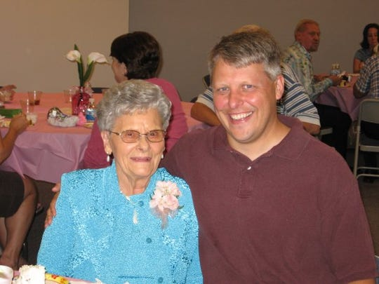 Mick Hatten with his grandmother, Margaret Peterson,