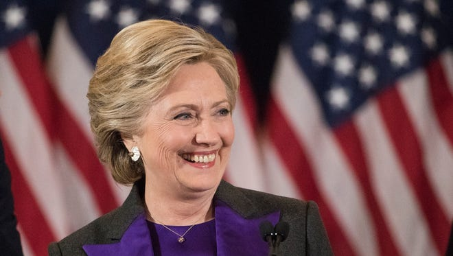 Hillary Clinton speaks in New York a day after losing the 2016 presidential election.