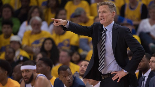 Golden State Warriors head coach Steve Kerr during the first quarter in game one of the first round of the 2017 NBA Playoffs against the Portland Trail Blazers at Oracle Arena.