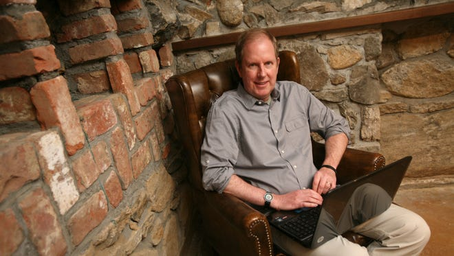 """Warren Berger, the author of the new book """"A More Beautiful Question"""", is photographed in the """"Cave"""" at the Marmaduke Writing Factory in Pleasantville, May 29, 2014."""