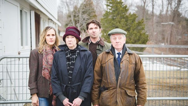 """The cast of John Patrick Shanley's """"Outside Mullingar"""" at Hudson Stage includes, from left: Susannah Schulman (Rosemary), Susan Pellegrino (Aiofe), Sean Hayden (Anthony), and Davis Hall (Tony). Directed by Hudson Stage co-founder Dan Foster, """"Outside Mullingar"""" runs at Whippoorwill Hall in Armonk through May 2."""