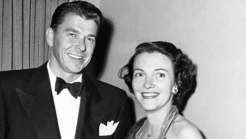 Ronald Reagan and Nancy Davis arrive for the Screen Writers Guild Dinner at the Ambassador Hotel, Hollywood, Calif. on Feb. 22, 1951.