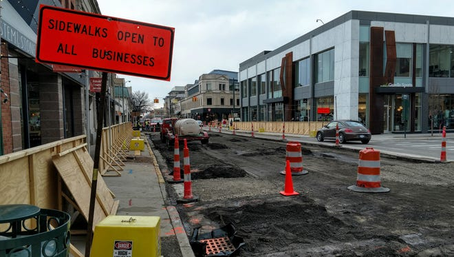 Maple Road in the earlier stages of the construction project in downtown Birmingham.