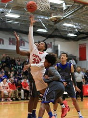 Taking it to the rim Thursday for Canton is sophomore