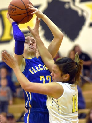 Philo's Destiny Johnson goes up for a shot over Tri-Valley's Alivia Bash during the 2016-17 season in Dresden. Hutcheson, who led the Muskingum Valley League in scoring last season, signed with West Liberty University on Wednesday.