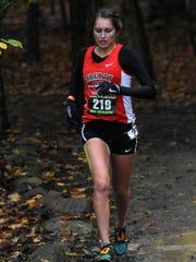 Liberty Union's Sydnee Mangette runs in the regional cross country meet, Saturday, Oct. 28, 2017, at Pickerington North High School in Pickerington.