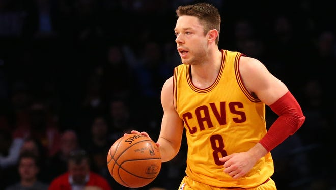 Matthew Dellavedova advances the ball during the second quarter against the Brooklyn Nets at Barclays Center.
