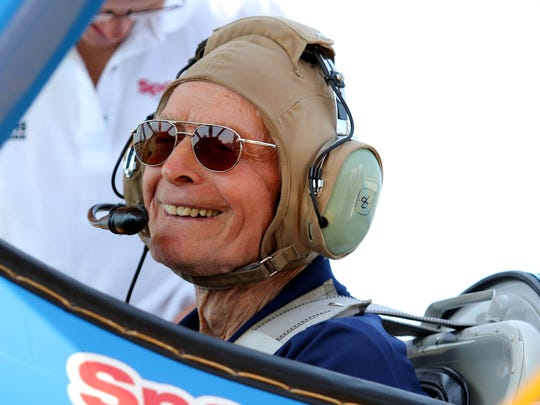 WWII veteran Arthur Hershkowitz, 92, smiles before taking off for a short flight in a 1942 Stearman, piloted by Mike Winterboer, with Ageless Aviation Dreams Foundation. Seniors from the Spring Hills Senior Assisted Living Facility had the opportunity to fly in a 1940's Boeing Stearman, open cockpit biplane.  The event was sponsored by the Ageless Aviation Dreams Foundation and the event was held at the Central Jersey Regional Airport in Hillsborough Sunday.