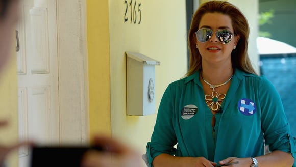 Alicia Machado campaigns for Hillary Clinton on Aug.