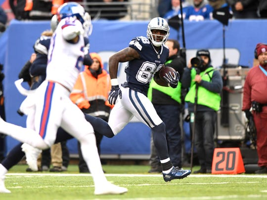 Dallas Cowboys wide receiver Dez Bryant (88) on his way to a touchdown in the first half. Dallas Cowboys at New York Giants in East Rutherford, NJ on Sunday, December 10, 2017.