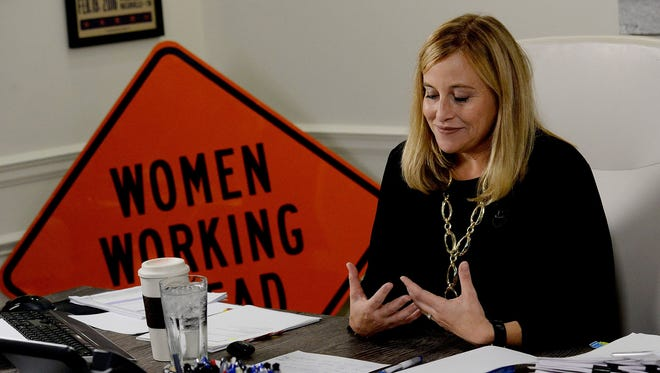 Nashville Mayor Megan Barry talks about her son, Max, during a news conference Monday, Aug. 7, 2017, in Nashville. It was the mayor's first public appearance since her son died July 29, 2017.