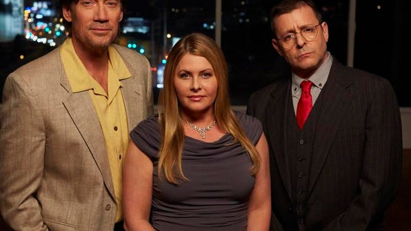"""Kevin Sorbo, left, Nicole Eggert and Judd Nelson are 1980s-vintage """"Heartbreakers"""" in new Investigation Discovery series."""