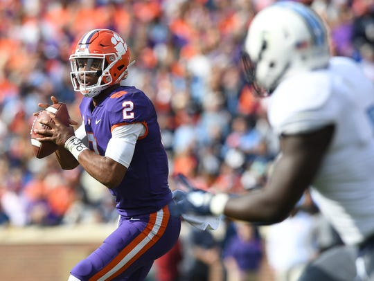 Clemson quarterback Kelly Bryant (2) looks to pass