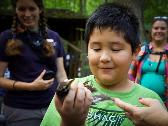 A student participates in a learning program at Great Smoky Mountains Institute at Tremont.