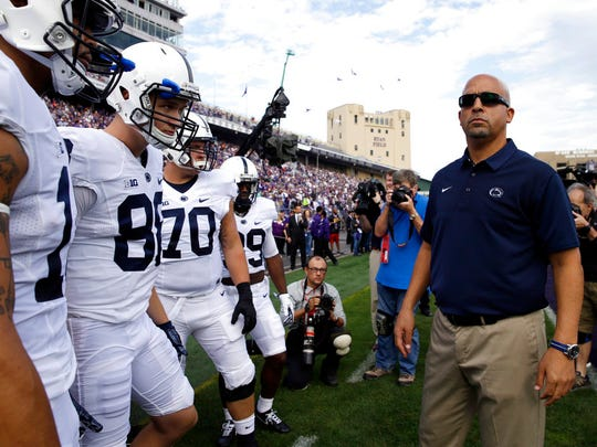 Penn State head coach James Franklin looks around before an NCAA college football game against Northwestern in Evanston, Ill., Saturday, Oct. 7, 2017. (AP Photo/Nam Y. Huh)
