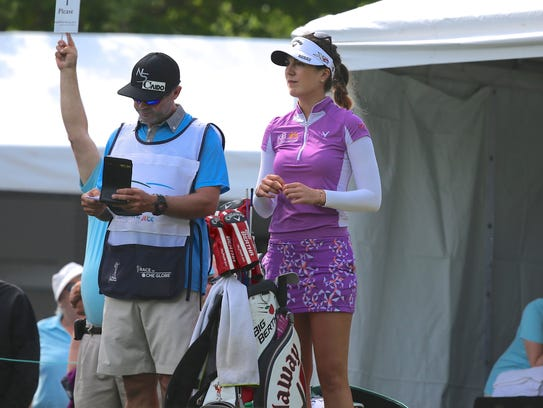 Gal and caddie Shaun Clews at the 2015 Kingsmill Championship.