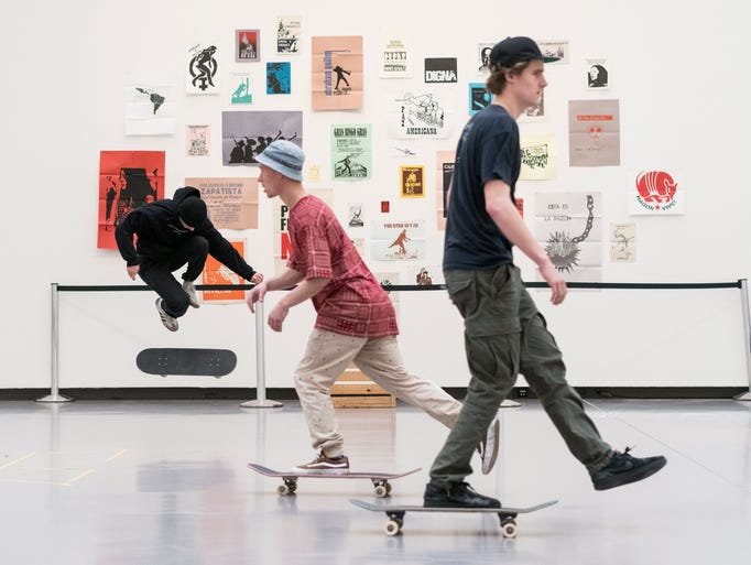 Kids skate at an installation by Mexican visual artist