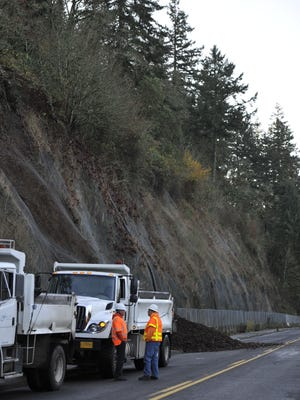 City of Salem crews respond to a landslide on River Road S in  2012. That section of the road will be closed starting Saturday.