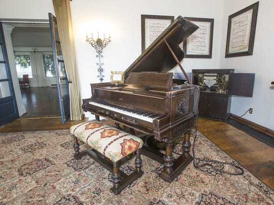 Renovations are taking place at the Wrigley Mansion in Phoenix. New tile, light fixtures, carpet, paint and other renovations are scheduled through 2018. This is the Steinway piano in the living room.