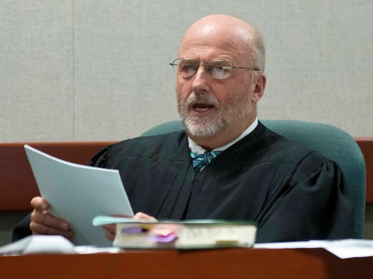 Judge Robert Bent presides over Allen Prue's murder trial last month in Burlington. Prue was convicted of murder and other charges in the 2012 slaying of Melissa Jenkins.