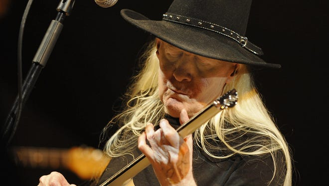 US guitarist Johnny Winters performs in 2008.