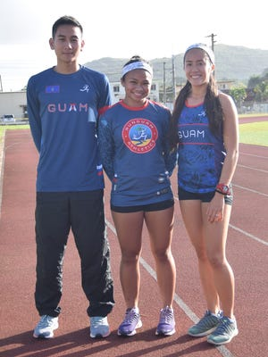 The Guam Athletics four member team will be representing Guam in the Pacific Mini Games in Port Vila, Vanuatu. Accompanying the team will be team official, Joshua Ilustre. From left, Ilustre, Shania Bulala, Genina Criss. Other team members, Athan Arizanga and Amanda Cruz were not present.