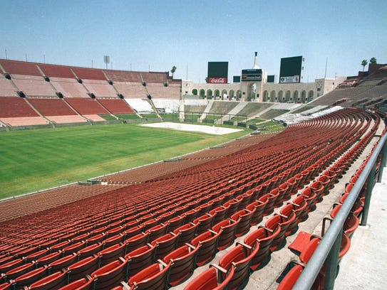 A 1998 photo shows the Los Angeles Coliseum, home of