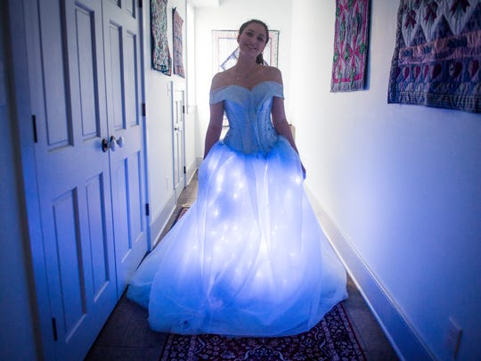 Marissa Maurer designed and made her own dress to wear to this year's prom.