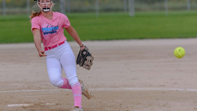 Tolton senior pitcher Paige Bedsworth (6) releases the pitch that secured the 1,000th strikeout of her career during a game against New Bloomfield on Tuesday night at American Legion Park.