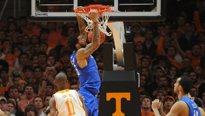 Feb 17, 2015; Knoxville, TN, USA; Kentucky Wildcats forward Willie Cauley-Stein (15) dunks the ball against the Tennessee Volunteers during the game at Thompson-Boling Arena. Mandatory Credit: Randy Sartin-USA TODAY Sports