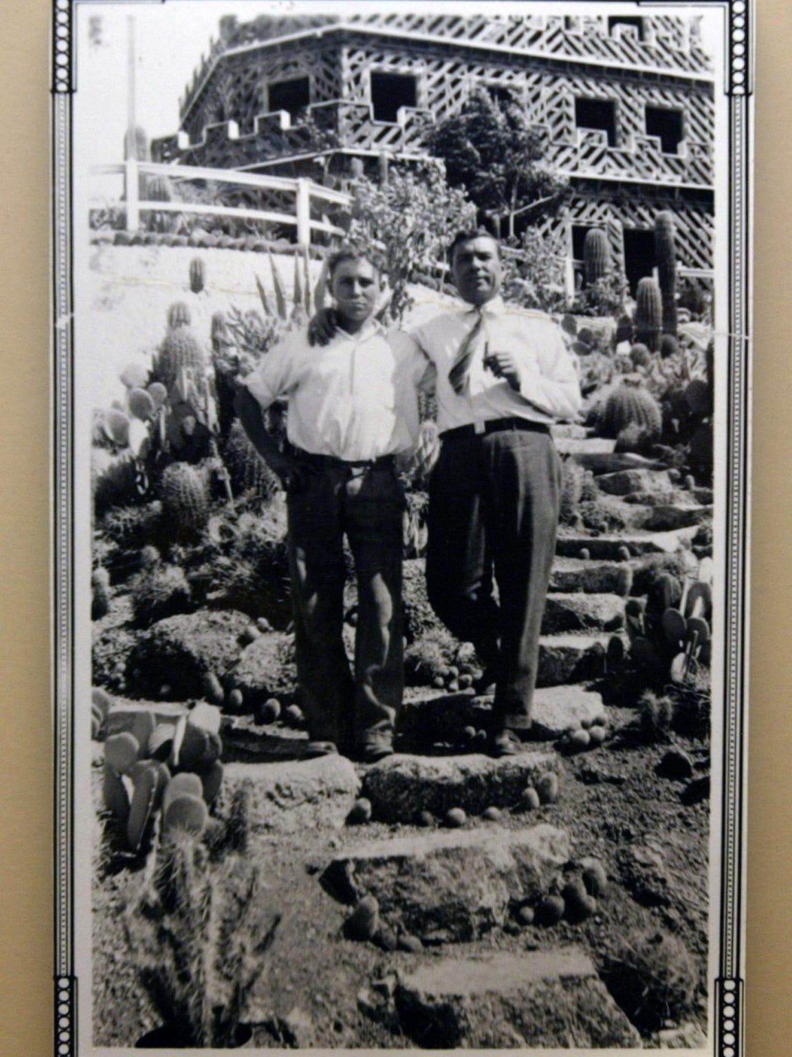 A photo of Alessio and Leo Carraro, circa 1930, on display at the historic Tovrea Castle in Phoenix.