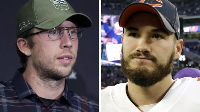 From left are 2019 file photos showing Nick Foles and Mitchell Trubisky, who said the Chicago Bears' trade for Foles gave him extra motivation to show he can develop into the franchise quarterback.